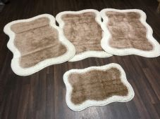 ROMANY GYPSY WASHABLES TRAVELLERS MATS FULL SET OF 4 XNEWX BEIGE-CREAM 80X120CM
